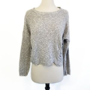 ASOS Womens Gray Distressed Crop Sweater Size 4